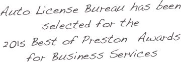 Auto License Bureau has been selected for the 